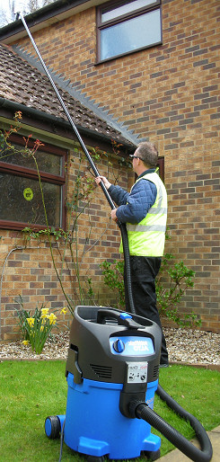 Vacuum cleaning gutters for residential customers in Gatwick and Crawley